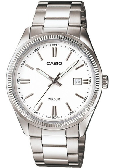Relógio Casio - Calendário Steel Branco - Mtp 1302d