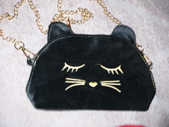 Cartera Dorado Cadena Negro Gato Gatito Nenas Todo Moda