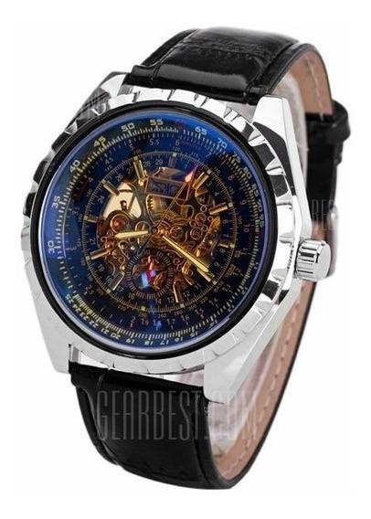 Relógio Mecânico Jaragar Design Aberto E Pulseira Em Couro