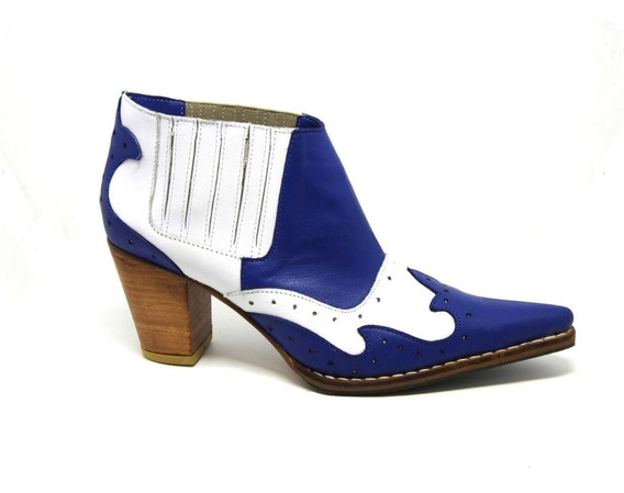 Bota Mujer Texana Artesanal Cuero Blanco/azul 2020