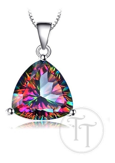 Collar Topacio Arcoiris Natural 5.79 Ct Plata Esterlina 925