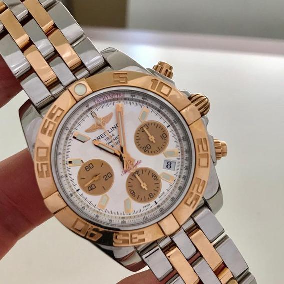 Breitling Chronomat B01 Ouro Rosé & Aço Completo Impecável