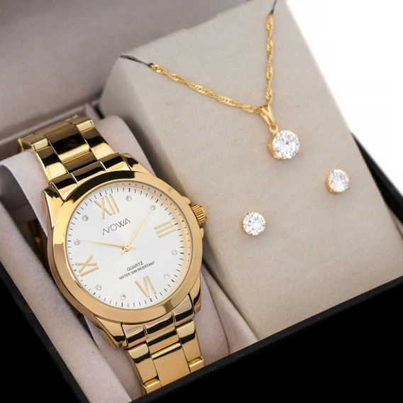 Relógio Feminino Nowa Dourado Nw1017k Com Kit Colar E Brinco