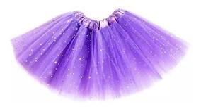 10 Saia De Tule Com Glitter 30cm Fantasia Carnaval