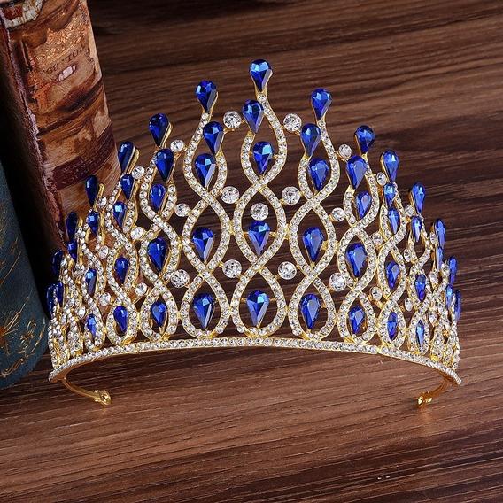 Corona Azul Dorada Tiara Boda Xv Quinceaños 15 Años Quiceañera
