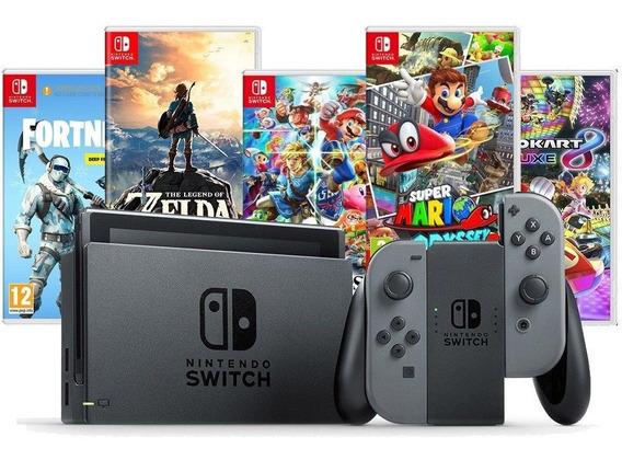 Nintendo Switch 32gb Neon / Cinza / Gray Bivolt + 3 Jogos