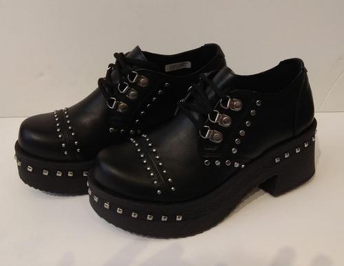 Zapato Acordonado Con Taco Charol Savage Mujer 35 Al 40