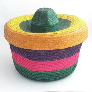 Cesto De Palma De Colores Con Tapa.artesanía Mexicana