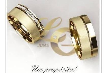 Linda Aliança Em Ouro Com Pedras Casamento