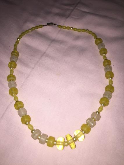 Colar Amarelo Com Pedras Vintage Exclusivo