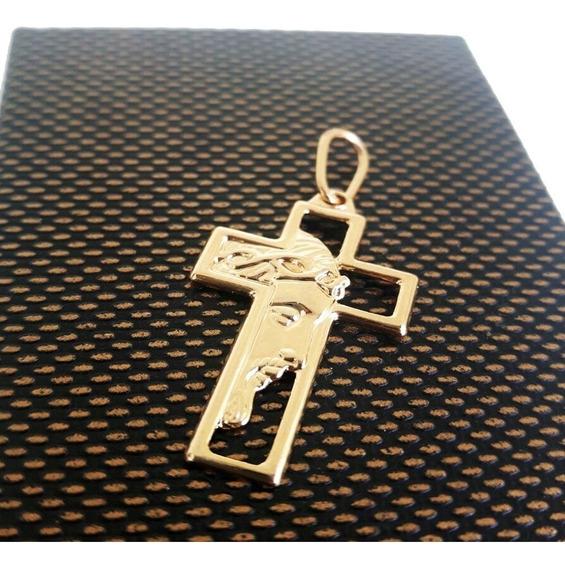 Pingente Crucifixo Com Face De Jesus Cristo Folheado A Ouro
