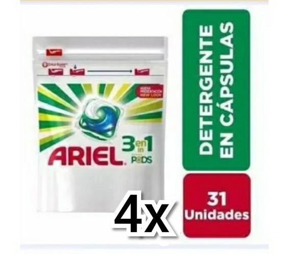 4 X Lava Roupas Ariel Power Pods 3 Em 1 124 Cáps Promoção.