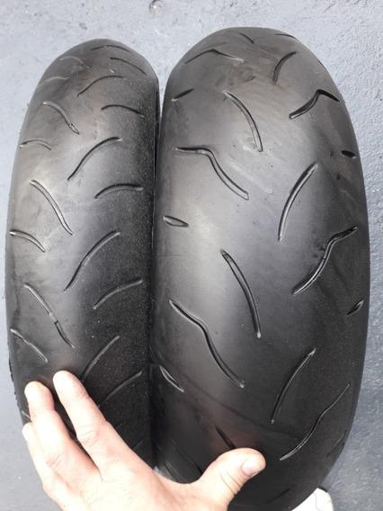 Par Pneus Bridgestone Tras 180/55 Diant 120/70-17 Hornet R1