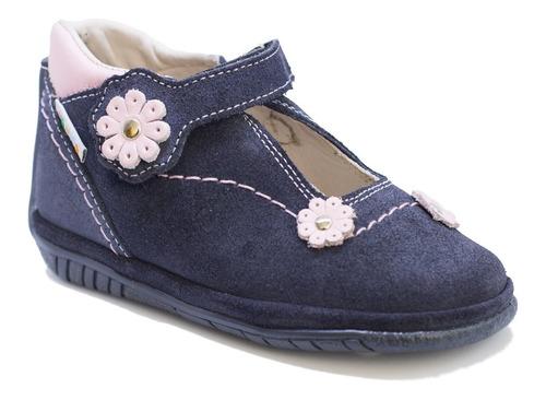 Zapatos De Niñas En Cuero Azul Rosado Mod. 247