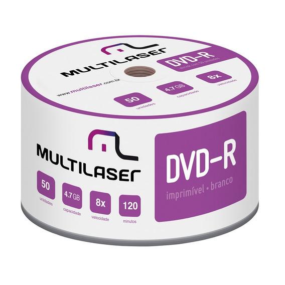 Midia Virgem Multilaser Dvd-r Shrink Imprimível 4.7gb 50 Pçs