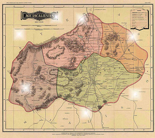 Lienzo Tela Canvas Mapa México Aguascalientes 1884 70 X 80