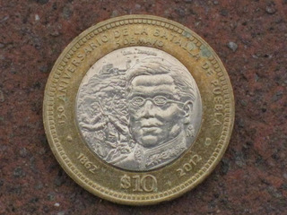 Moneda De 10 Pesos De La Batalla De Puebla