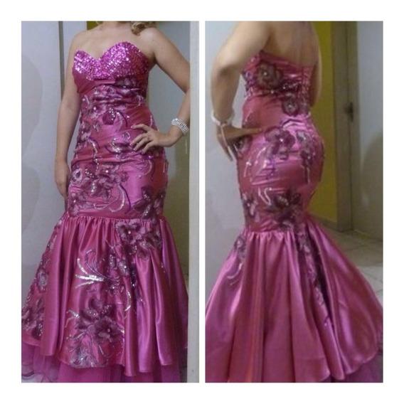 Vestido De Festa Longo Sereia Rosa Pink