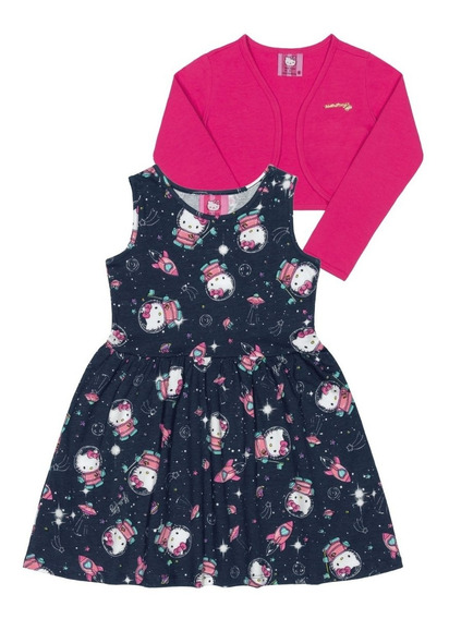 Vestido Com Bolero Infantil Cotton Hello Kitty