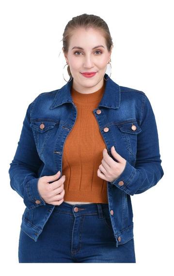 Campera Jean Mujer Elastizadas Talle Especiales Azul Y Negro