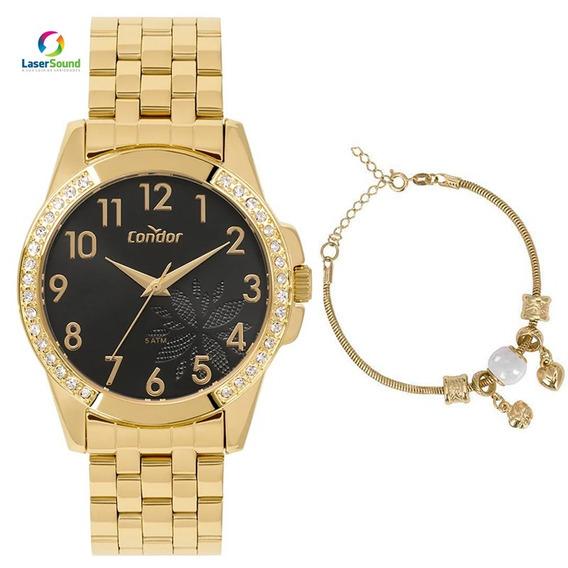 Kit Relógio Condor Feminino Co2035moz/k4p C/ Garantia E Nf