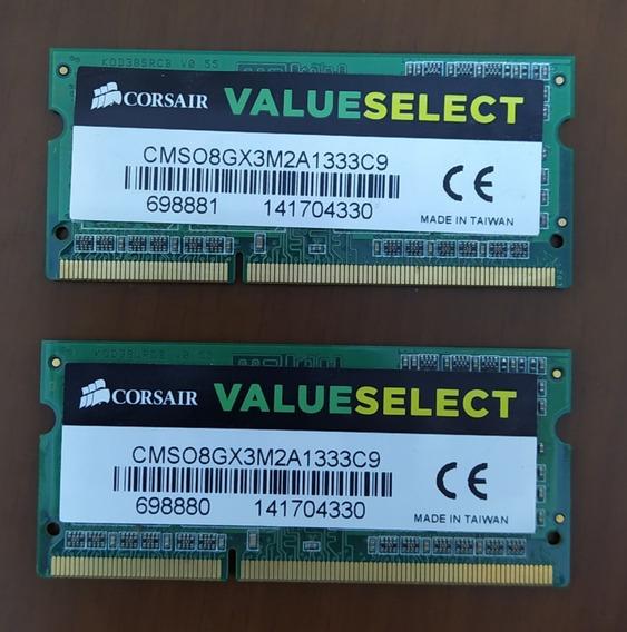 Memória Ddr3 Corsair Value 2x4gb 8gb Notebook 1333mhz