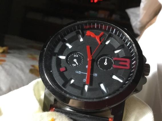 Relógio Puma, Lindo, Fundo Preto, Pulseira, Detalhes Em Corb