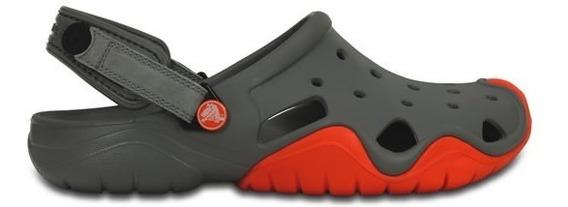Zapato Crocs Caballero Swiftwater Clog Gris/naranja