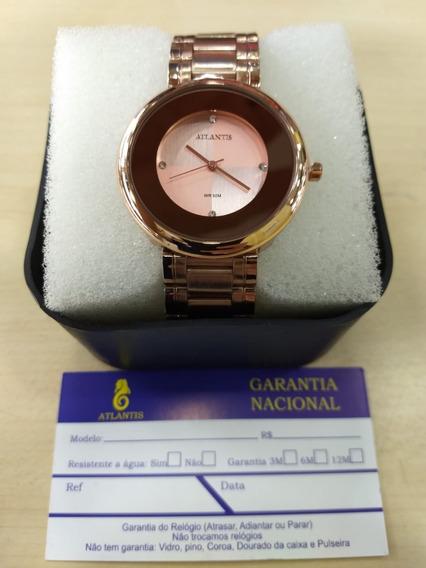 Relógio Original Atlantis Rose Feminino Luxo Frete Gratis