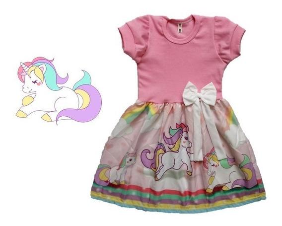 Vestido Infantil Unicórnio Rosa Manga Curta Roupa/fantasia