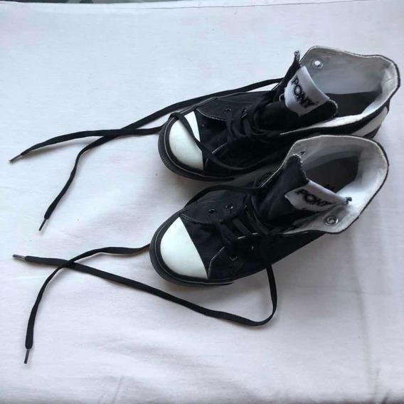 Zapatillas Botitas Pony Blanca Y Negra