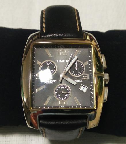 Relógio Timex Monaco Analógico Quadrado Couro Usado Lindo