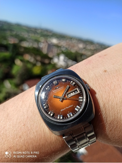 Technos Black Panther Laranja Swiss Made Anos 60/70 Automáti