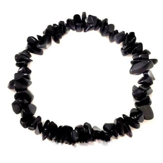 Pulseira Pedra Cascalho Energia Obsidiana Negra Cristal 123