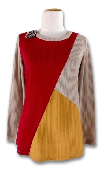 Sweater Lanilla Bastón Ancho Combinado