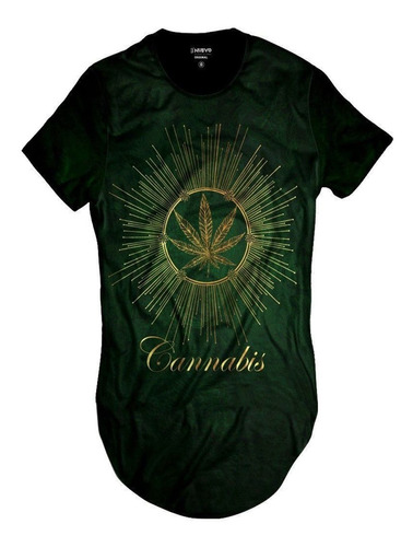 Imagem 1 de 2 de Camiseta Longline Cannabis Erva Verde Fumo Marijuana