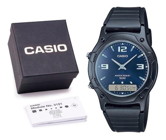 Relógio Casio Aw-49h Digital Cronometro C/ Caixa E Nf Azul
