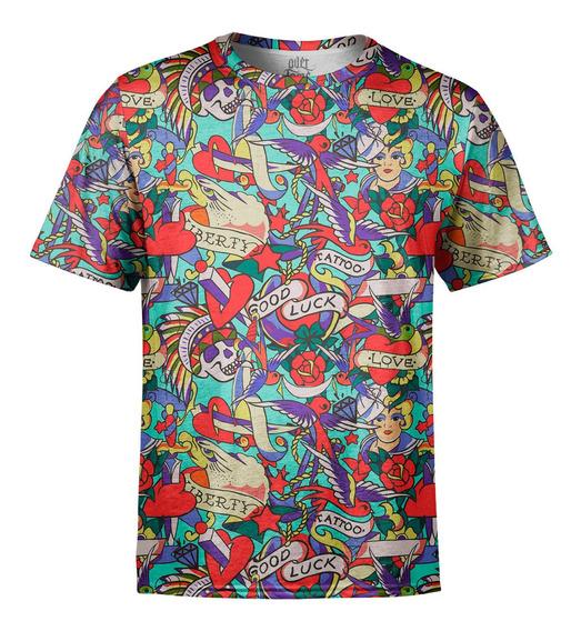 Camiseta Masculina Tatuagens Clássicas Estampa Digital