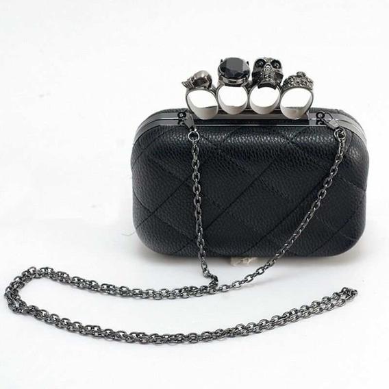 Bolsa Clutch Negra Con Manopla Y Craneos Monterrey Skull
