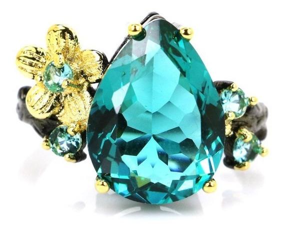 Anel Feminino Prata 925 Ouro Negro Pedra Topázio Aro 18 19