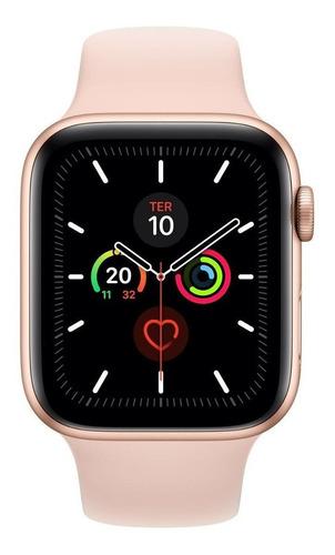 Imagem 1 de 2 de Apple Watch (GPS) Series 5 40mm caixa 40mm de  alumínio  gold pulseira  pink sand de  fluoroelastómero A2092
