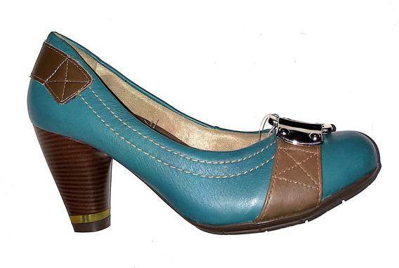 Sapato Feminino Comfortflex Couro Scarpin Verde Alto