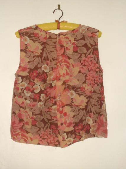 Blusa Seda Italiana Con Flores Rosa Viejo Al Tono--s/mangas