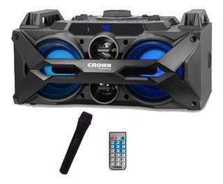 Parlante Portatil Crown Sd Usb Bluetooth Bateria Mic Karaoke