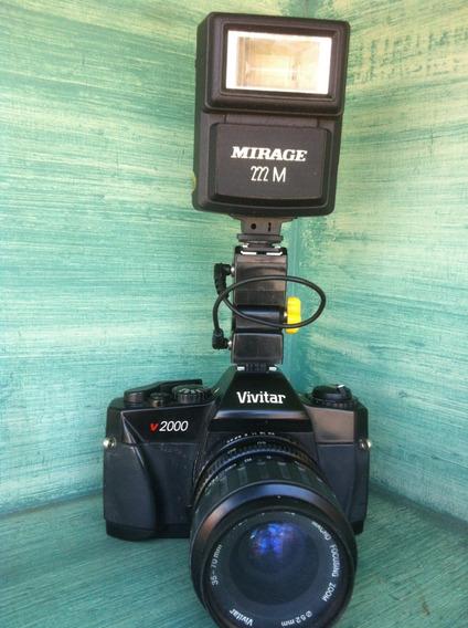 Câmera Vivitar V 2000 Analógica Com Dois Flashes Inclusos
