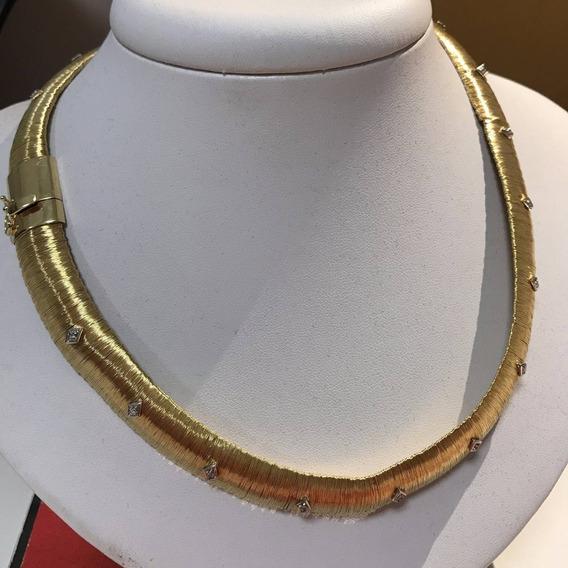 Colar Em Ouro 18k-750 Tam: 45cm Peso: 74.1 G E Diamantes