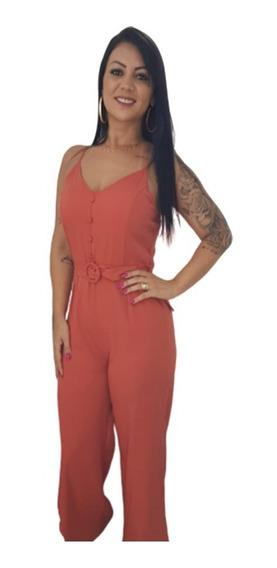 Macacão Longo Pantalone Feminino Com Fenda E Bojo