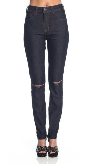 Calça Jeans Feminina Skinny Rasgada Coca-cola Cintura Média