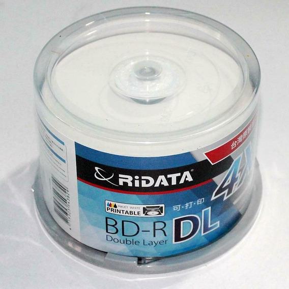 50 Unidades Blu-ray Ridata 50gb Fundo Preto / Pino