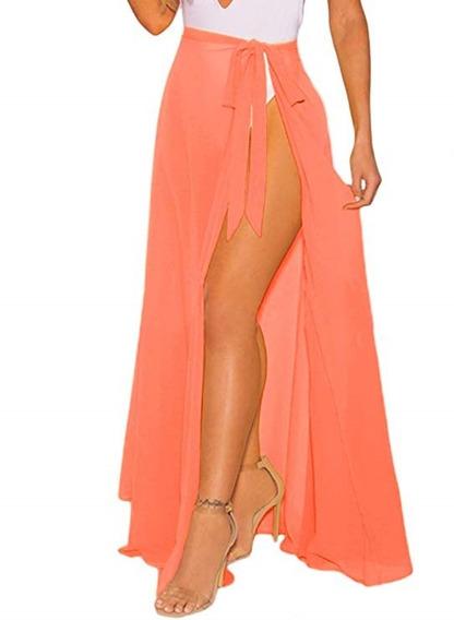 Falda Larga Para Playa De Mujer Color Coral Marca Omicgot